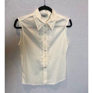 White Sleeveless Button Down Blouse by YSL